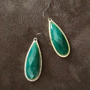 Green and Gold Tear Drop Earrings
